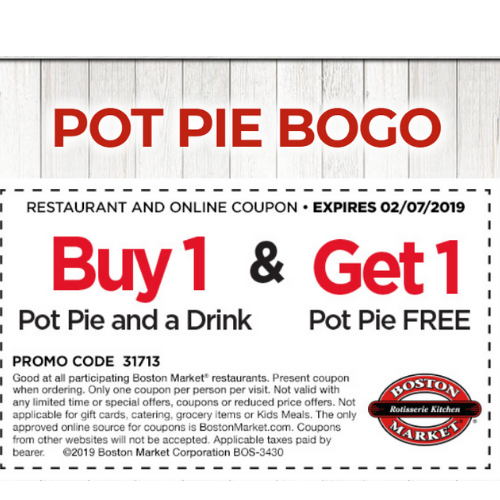 image regarding Printable Boston Market Coupons identified as BOGO No cost Boston Sector Hen Pot Pie Coupon