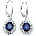 Groupon: Sapphire Halo Leverback earrings in 18K White Gold For $5 ($62.49)