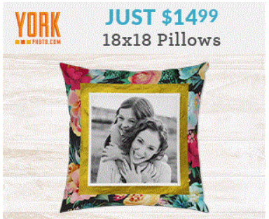 York Photo – 18×18 Custom Pillow only $14.99 + S&H