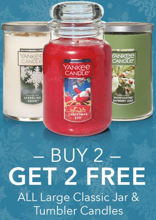 Buy 2, Get 2 Free Large Classic Jar & Tumbler Yankee Candles