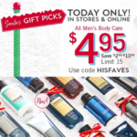 Today 11/20 at Bath and Body Works Men's Body Care ONLY $4.95 each!