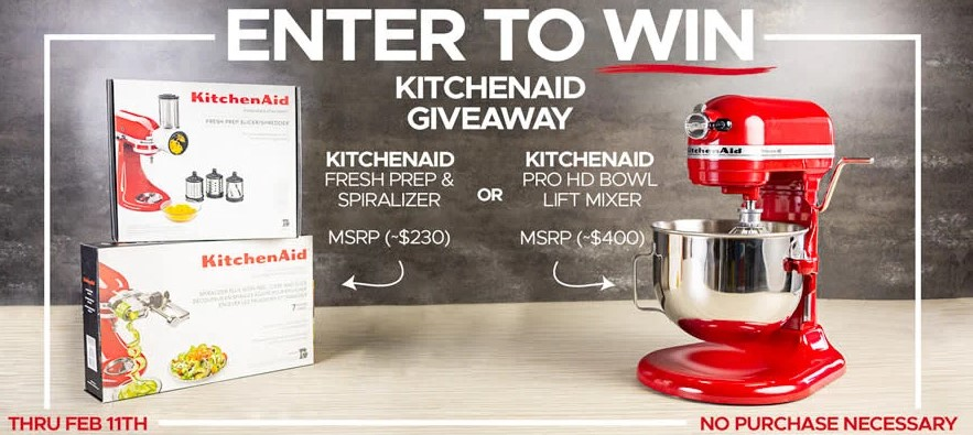Win a KitchenAid Stand Mixer or Mixer Attachment Package